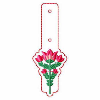 Flower Embellishments 01 Key Fobs - In The Hoop Machine Embroidery Design