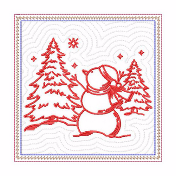 In The Hoop Machine Embroidery Mug Rug - Christmas Redwork Snowman Collection #09