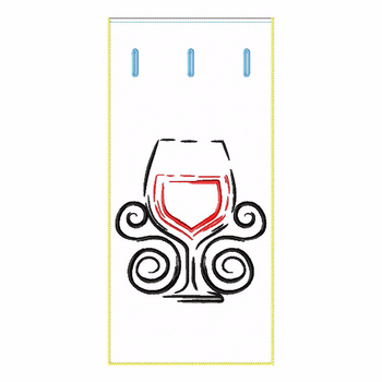 ITH Wine Bag Wine Glass - In The Hoop Machine Embroidery Design