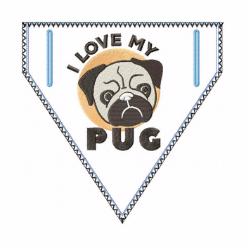Pug Doggie Bandana 01 - In The Hoop Machine Embroidery Design