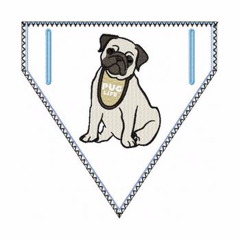 Pug Doggie Bandana 02 - In The Hoop Machine Embroidery Design