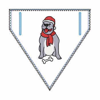 Doggie Bandana Santa Dog 05 - In The Hoop Machine Embroidery Design