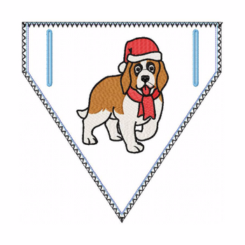 Doggie Bandana Santa Dog 06 - In The Hoop Machine Embroidery Design
