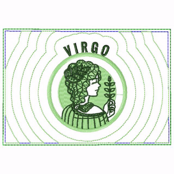 Virgo Zodiac Small Money Purse - In The Hoop Machine Embroidery Design