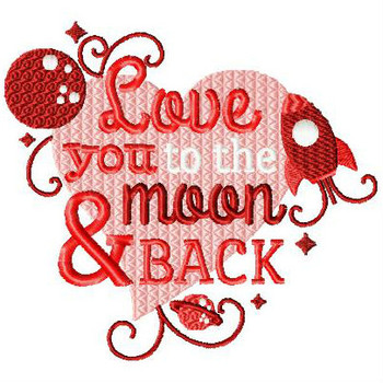 Love You To The Moon & Back - Valentines Hearts Typography Collection #03 - Machine Embroidery Design