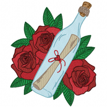 Red Rose Love Letter Machine Embroidery Design - Love Letter in a Bottle #01