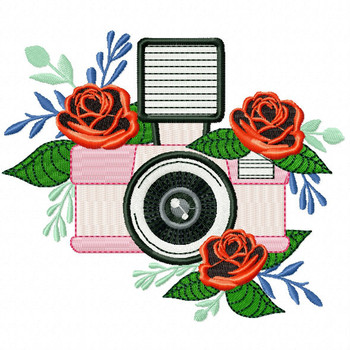 Pink Flash Camera Machine Embroidery Design - Photography Hobby #04