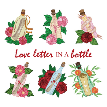 Love Letter in a Bottle Collection of 6 Machine Embroidery Designs