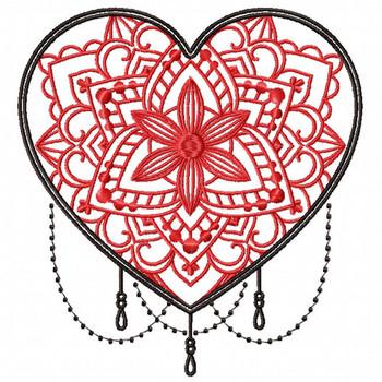Mandala Heart Collection #04 Machine Embroidery Design