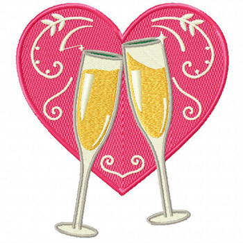 Pink Champagne Heart - Champagne Toast Collection #01 - Machine Embroidery Design