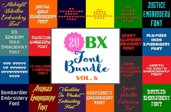 Machine Embroidery Fonts - 20 BX Font Bundle - Volume 6