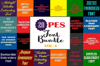 Machine Embroidery Fonts - 20 PES Font Bundle - Volume 6 - 20 Brother - Babylock fonts!