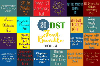 Machine Embroidery Fonts - 20 DST Font Bundle - Volume 3