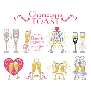 Champagne Toast Collection of 8 Machine Embroidery Designs