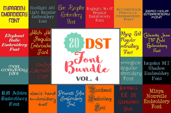 Machine Embroidery Fonts - 20 DST Font Bundle - Volume 4