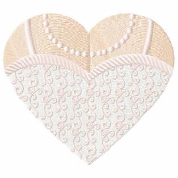 Detailed Wedding Dress - Bride & Groom Hearts - Bride Dress Collection #05 Machine Embroidery Design
