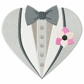 Flower Tuxedo - Bride & Groom Hearts - Groom Tuxedo Collection #02 Machine Embroidery Design