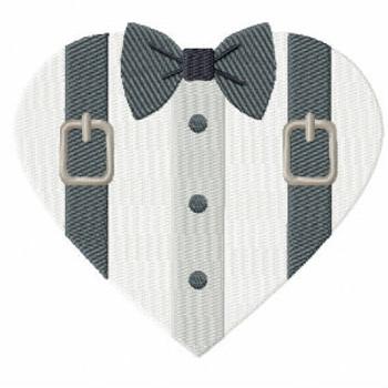 Suspender Tuxedo - Bride & Groom Hearts - Groom Tuxedo Collection #03 Machine Embroidery Design