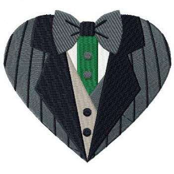 Stripes Tuxedo - Bride & Groom Hearts - Groom Tuxedo Collection #05 Machine Embroidery Design