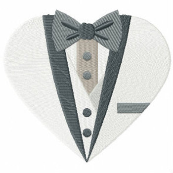 Button Tuxedo - Bride & Groom Hearts - Groom Tuxedo Collection #06 Machine Embroidery Design