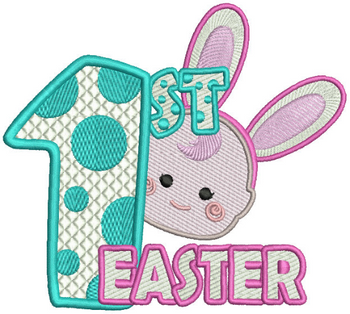Baby's First Easter #01 Stitched and Applique Machine Embroidery Design