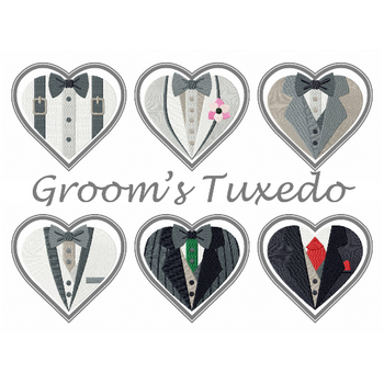 Machine Embroidery Designs - Bride & Groom Hearts - Groom Tuxedo Collection of 6