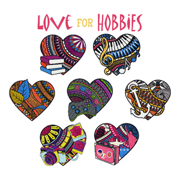 Machine Embroidery Designs - Love for Hobby Collection of 7