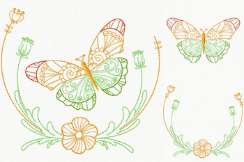 Beautiful Butterfly and Floral #03 Machine Embroidery Designs
