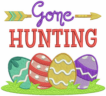 Gone Hunting - Easter Typography Collection #03 Machine Embroidery Design