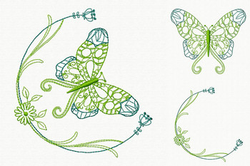 Beautiful Butterfly and Floral #06 Machine Embroidery Designs