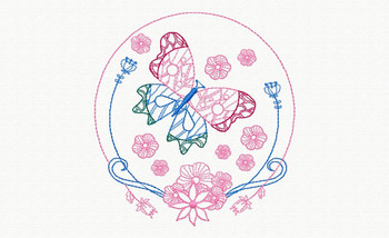 Beautiful Butterfly and Floral #07 Machine Embroidery Designs