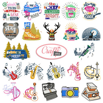 4x4 Hoop Hobbies Special - 69 Hobbies Machine Embroidery Designs!