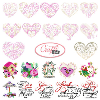 4x4 Hoop Love Special - 59 Vintage & Love Machine Embroidery Designs!