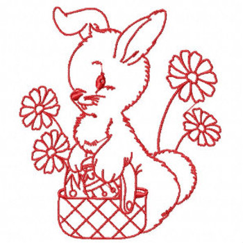 Easter Redwork Bunnies Collection #02 Machine Embroidery Design