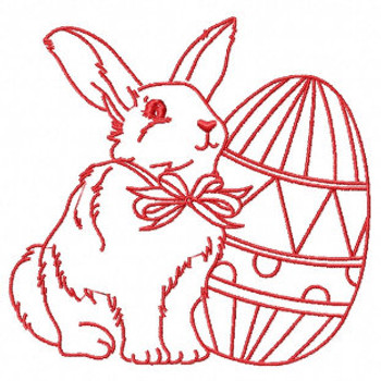 Easter Redwork Bunnies Collection #04 Machine Embroidery Design