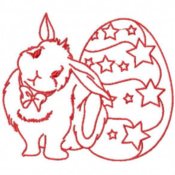 Easter Redwork Bunnies Collection #05 Machine Embroidery Design