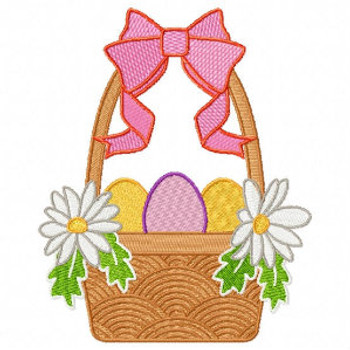 Easter Egg Basket with Ribbon - Easter Egg Collection #04 Machine Embroidery Design