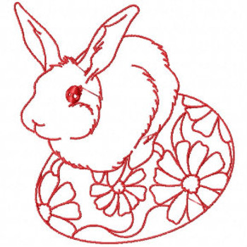 Easter Redwork Bunnies Collection #06 Machine Embroidery Design