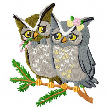 Owl Couple - Wedding Easter Animals Collection #01 Machine Embroidery Design