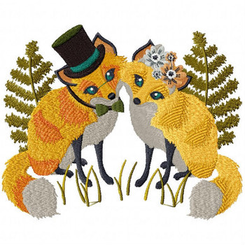 Fox Couple - Wedding Easter Animals Collection #02 Machine Embroidery Design