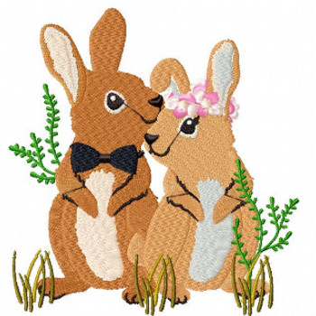 Rabbit Couple - Wedding Easter Animals Collection #03 Machine Embroidery Design