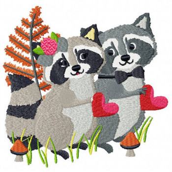 Raccoon Couple - Wedding Easter Animals Collection #05 Machine Embroidery Design