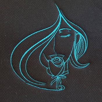 Rose Modern Ladies #1 Machine Embroidery Design