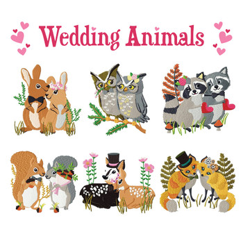 Machine Embroidery Designs - Wedding Animals Collection of 6