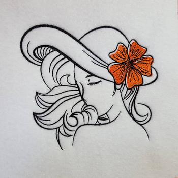 Flower Hat Modern Ladies #2 Machine Embroidery Designs