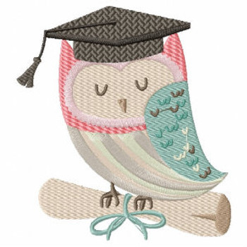 Owl with Diploma - Owl Graduation Collection #01 Machine Embroidery Design