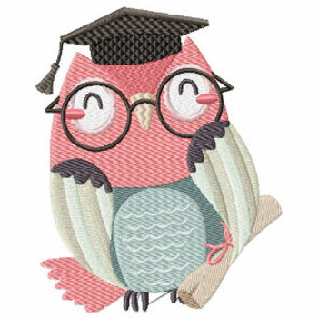 Pink Owl in Glasses - Owl Graduation Collection #02 Machine Embroidery Design