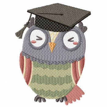 Genius Kindergarten Owl - Owl Graduation Collection #03 Machine Embroidery Design