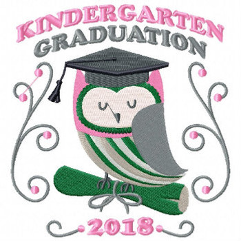 Owl Kindergarten Typography Collection #04 Machine Embroidery Design