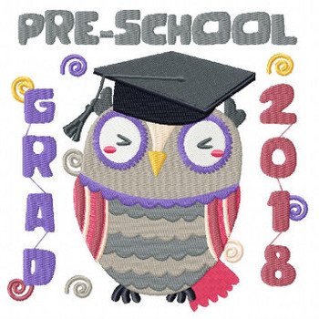 Owl Preschool Typography Collection #01 Machine Embroidery Design